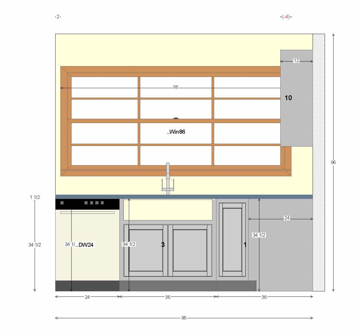 Kitchen Diagram with Large Window