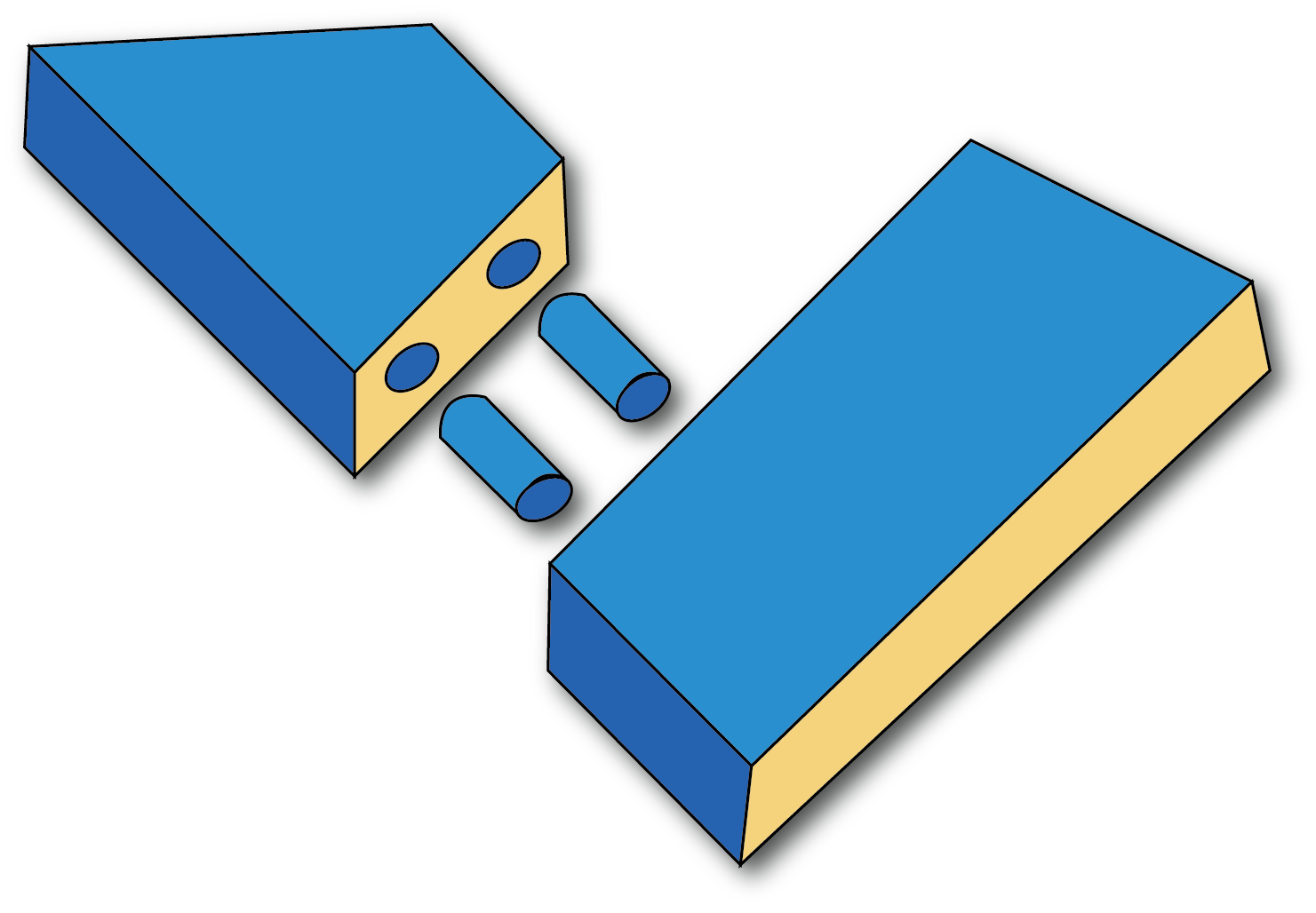 A diagram of a dowelled joint.