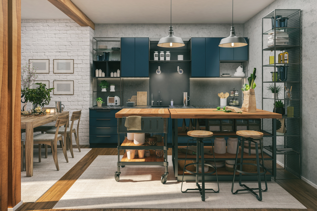 A small industrial style kitchen with open shelving.