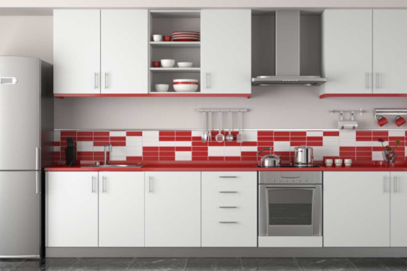 White And Red Painted Kitchen